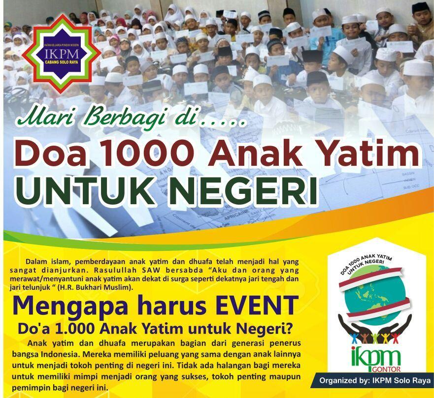 Peringati Tahun Baru Hijriyyah, IKPM Solo Raya Gelar Santunan dan Doa 1000 Anak Yatim