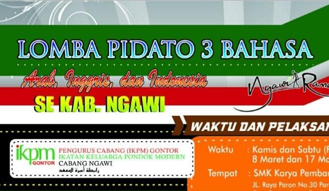 IKPM Cabang Ngawi Buka Pendaftaran Lomba Pidato 3 Bahasa