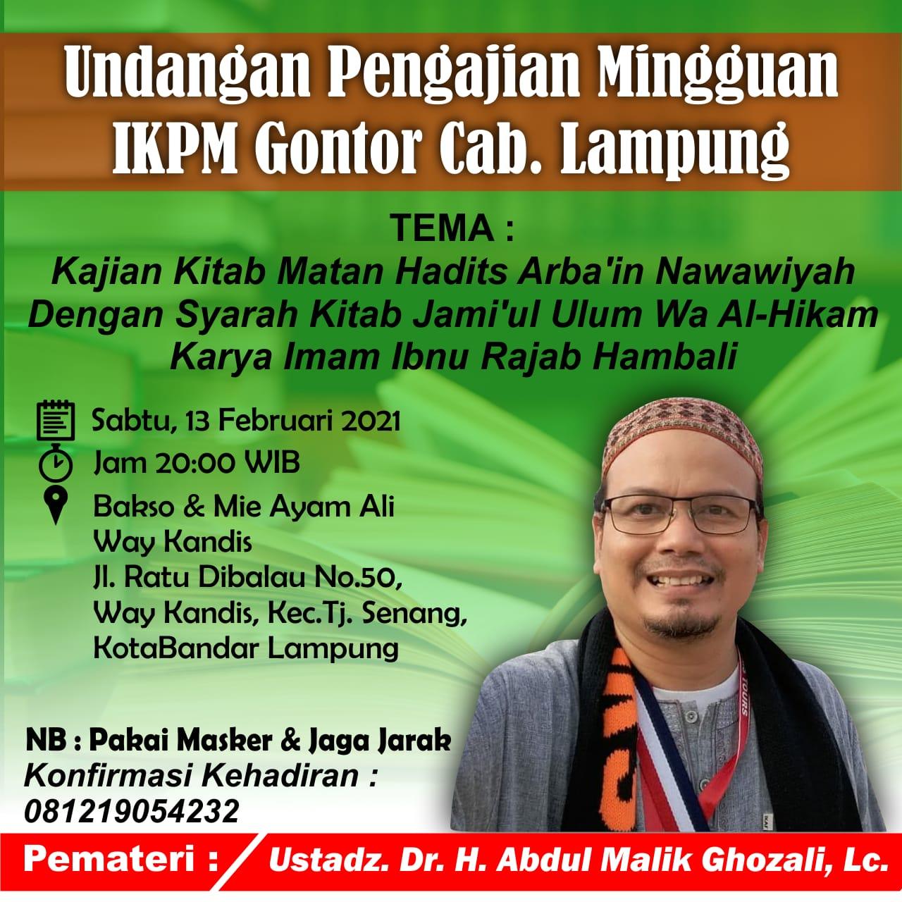 IKPM Gontor Cabang Lampung Gelar Kajian Mingguan Arba'in Nawawiyyah